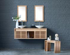Teak double bathroom vanity-CUBE by Line Art -vented doors add a fresh, airy feel Bathroom Vanity Makeover, Rustic Bathroom Vanities, Bathroom Vanity Cabinets, Single Bathroom Vanity, Bathroom Furniture, Bathroom Ideas, Bathroom Designs, Bath Vanities, Bathroom Storage