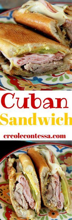 My favorite sandwich Roasted Pork Cuban Sandwich -Creole Contessa Cuban Recipes, Pork Recipes, Cooking Recipes, Recipies, Cuban Sandwich, Soup And Sandwich, I Love Food, Good Food, Yummy Food