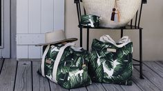 Palm Riviera Bag Collection :: duffle bag :: tote :: washbag :: palm frond :: palm leaf :: India Hicks :: palm print :: banana leaf