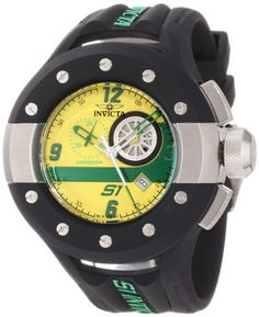 Invicta Mens 11127 S1 Chronograph Yellow and Green Dial Black Polyurethane Watch ** Check out this great product.