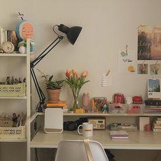 Study Room Decor, Room Ideas Bedroom, Korean Bedroom Ideas, Bedroom Inspo, Study Rooms, Bedroom Ideas For Small Rooms, Room Wall Decor, Bedroom Wall, Indie Room