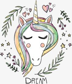 cute animal hand painted, Unicorn, Animal, Hand Painted PNG and Vector Unicorn Poster, Unicorn Wall Art, Framed Art Prints, Canvas Prints, Fine Art Prints, Dream Big Printables, Unicorn Fantasy, Cute Unicorn, Magical Unicorn