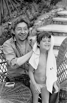 Serge Gainsbourg and his daughter Charlotte Gainsbourg by Daniel Angeli, 1977.