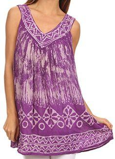 Sakkas 84 - Wanda May Embroidered Batik Scoop Neck Relaxed Fit Sleeveless Blouse - Purple - OS Sakkas http://www.amazon.com/dp/B00Y3I6KTA/ref=cm_sw_r_pi_dp_Gw0Gvb00FF7KZ