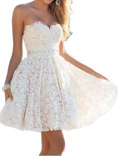 Short Lace Beaching Wedding Dress,Short homecoming dress