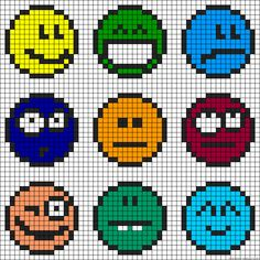 Beaded Cross Stitch, Cross Stitch Charts, Cross Stitch Embroidery, Cross Stitch Patterns, Pearler Bead Patterns, Perler Patterns, Smileys, Hama Beads Coasters, Pixel Crochet