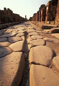 Pompeii - our guide said the ruts in the stone paved roads were made by chariots that traveled frequently to the taverns & brothels !