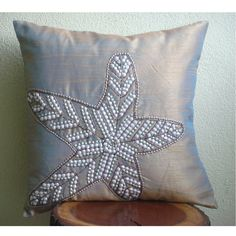 Starfish Sparkle  - Throw Pillow Covers - 16x16 Inches Silk Pillow Cover with Sequins Embroidery. $25.50, via Etsy.