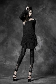 black leather tight gothic pants with lace