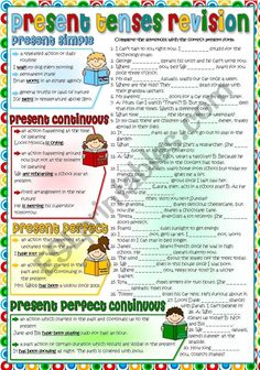 A short garmmar-guide with some examples and an activity to parctise four present tenses (PRESENT SIMPLE, PRESENT CONTINUOUS, PRESENT PERFECT and PRESENT PERFECT CONTINUOUS)for pre-intermediate students. Greyscale and KEY included. Hope you can use it with your sts. Hugs mada :)
