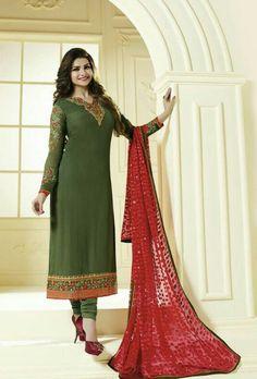 Green Designer Embroidered Suit - Desi Royale