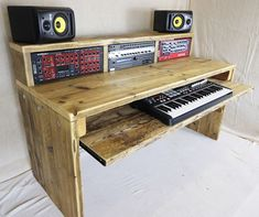 Recording studio desks made from reclaimed wood. These music studio desks are hand built to your specifications and include rack bays in the desktop Studio Desk Music, Recording Studio Desk, Home Studio Setup, Home Music Rooms, Wood Table Design, Studio Furniture, News Studio, Music Production, Audio
