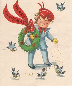 "Vintage Christmas Greeting Card ~ ""Merry Christmas"" Child Feeding the Birds"