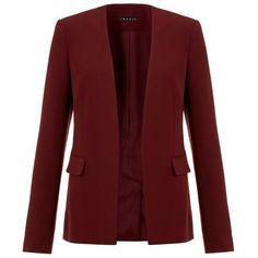 Theory Niransi Blazer ($595) ❤ liked on Polyvore featuring outerwear, jackets, blazers, burgundy blazer, red blazer, burgundy jacket, red jacket and collarless jacket