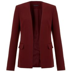 Theory Niransi Blazer ($590) ❤ liked on Polyvore featuring outerwear, jackets, blazers, blazers/jackets, sweaters, burgundy jacket, burgundy blazer, theory blazer, red blazer and collarless jacket