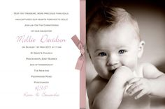 Mollie Photo Christening Invitations   Handmade By me Limited