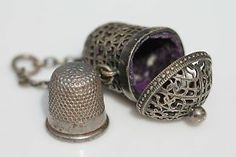 Antique Victorian Silver Chatelaine Thimble Case Velvet Lined Filigree Holder