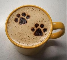 hot coffee....love the paw prints