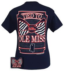 Mississippi Ole Miss Rebels Tied To Prep Bow Girlie Bright T Shirt | SimplyCuteTees