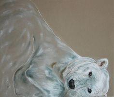 Arctic Frolic Polar Bear Art Pastel Drawing By Cori Solomon