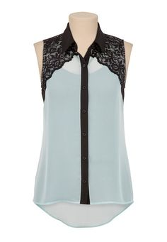 High-Low Contrast Lace open Back Blouse available at #Maurices
