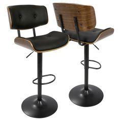 LumiSource Lombardi Walnut-finish Wood and Chrome Mid-century Modern Adjustable Barstool