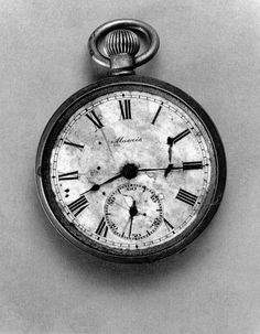 Pocket watch stopped at 8:15am, August 6th, 1945, the precise moment of the bombing of Hiroshima.