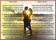 """¡QUIERO AMARTE! - Insp- Edith Lobato """"Quero te amar""""- Obrigada! - Encontro de Poetas e Amigos"""