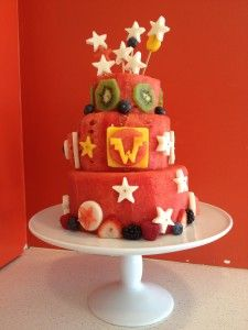 A Gluten Free, Sugar Free Super Hero Themed Watermelon Fruit Cake for a baby shower at LA Spice