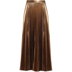 A.L.C. Bobby pleated midi skirt ($645) ❤ liked on Polyvore featuring skirts, rose gold, vintage skirts, pleated midi skirt, brown midi skirt, calf length skirts and midi skirt