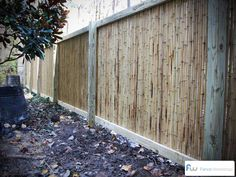 A simple bamboo fence style. 4x4 pine posts, 2x4 and 1x4 pine framing.