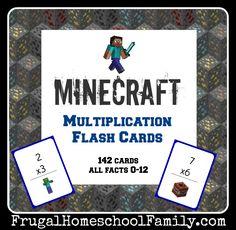 Minecraft Multipliation Flash Cards
