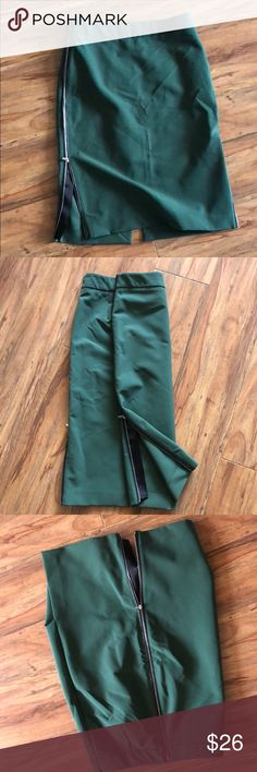 Zara side zip hunter green pencil skirt Dual side zip pencil skirt falls below the knee. Elegant hunter green perfect for winter and spring. Like new condition Zara Skirts Pencil
