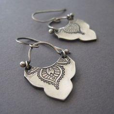 Mehndi Earrings Exotic Silver Earrings Handmade Fine by loriyab