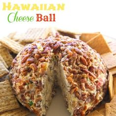 A cream cheese ball with crushed pineapple, green onions, and bell pepper. This is such a crowd pleaser.