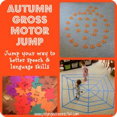 Autumn Gross Motor Jump-incorporating gross motor activities in speech therapy to enhance speech and language skills. From Playing with words 365. - Pinned by @PediaStaff – Please Visit http://ht.ly/63sNt for all our pediatric therapy pins
