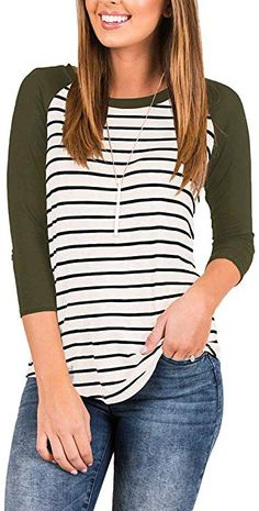 ca617d36ba INFITTY Women's Loose 3/4 Sleeve Raglan Striped T Shirt Round Neck Baseball  Tunic Blouse Tops Army Green Small at Amazon Women's Clothing store: