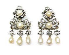 Pair of 18th century pearl and diamond triple drop earrings, Iberian c.1750, - S J Phil...