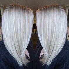 White platinum blonde balayage