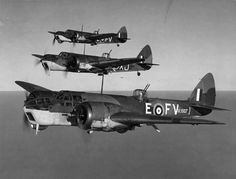Here, three Blenheims from No. 13 Operational Training Unit at RAF Bicester hold position perfectly in echelon right. 13 OTU was associated with 6 Group, Bomber Command which was comprised of squadrons of the Royal Canadian Air Force. Ww2 Aircraft, Military Aircraft, Navy Aircraft, Bristol Blenheim, Bristol Beaufighter, Old Planes, Aviation Image, Vintage Airplanes, Battle Of Britain