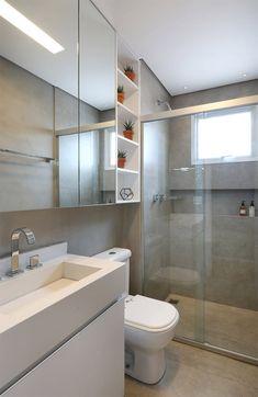 10-banheiro-claro-com-cimento-queimado Bathroom Mural, Bathroom Spa, Modern Bathroom, Small Bathroom, Washroom, Home Decor Shelves, Toilet Design, Tiny House Plans, Bathroom Interior Design