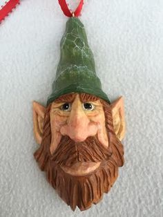 """""""Morton"""" - Elf tree ornament carved by RWK Woodcarving."""