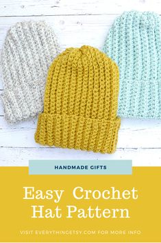 Easy Crochet Hat–Free Pattern - EverythingEtsy.com Crochet Gifts, Free Crochet, Knit Crochet, Easy Crochet Hat Patterns, Diy Gifts For Kids, Yarn Stash, Etsy Business, Craft Tutorials, Crochet Projects