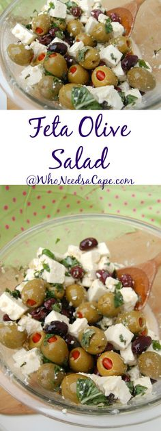 Feta Olive Salad is a great combination! Perfect side dish for. Feta Olive Salad is a great combination! Perfect side dish for any BBQ Picnic Or just a Saturday night! Keto Side Dishes, Side Dish Recipes, Picnic Side Dishes, Cheap Side Dishes, Italian Side Dishes, Side Dishes For Bbq, Greek Recipes, Italian Recipes, Olive Salad Recipe Italian