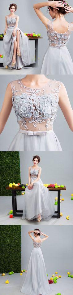 Gray tulle lace long prom dress, gray evenin gdress