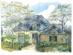 Eplans House Plan: This cozy stucco design fits a shady lane in town or takes advantage of the views in the country. French doors open from an arched entryway with a transom window to the foyer. Two family bedrooms flank