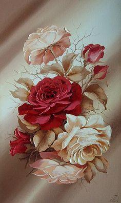 Art painting still life roses  by Domnina