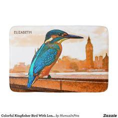 Colorful Kingfisher Bird With London Skyline Bath Mat