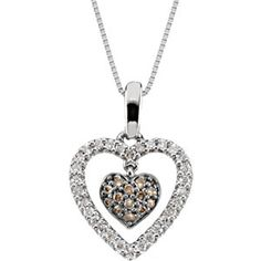 14k white gold brown and white diamond heart necklace, 1/4cttw. Find it at a jeweler near you: www.stuller.com/locateajeweler