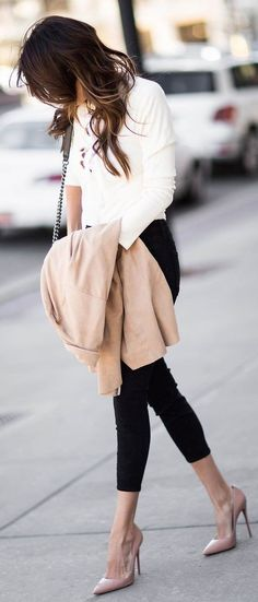 White Lace-Up Top, Camel Suede Dress Worn As Jacket, Black High-Waisted Denim, Nude Patent Heels, Chanel Bag | The Color Combo That Never Goes Out Of Style | Hello Fashion